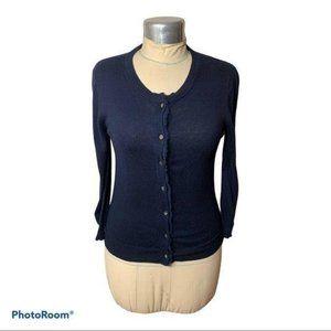 J. Crew Cardigan Sweater Frayed Edge Cotton Cashmere Navy Small